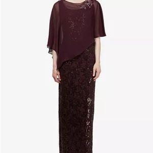 SL Fashions  Sequin Gown & Cape Purple Wine